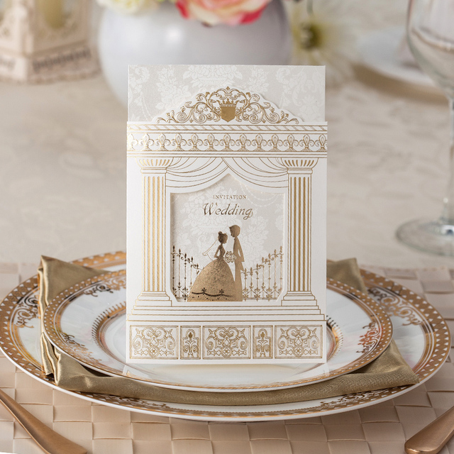 100 Pcs Fashion Wedding Invitation Cards Gold Foiling Frame Church Style Suppliers Printable
