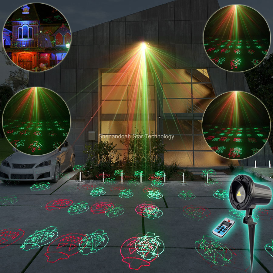 ESHINY Outdoor Waterproof R&G Laser 12 Halloween Patterns Projector Shop House Party Tree DJ Wall Landscape Garden Light T107