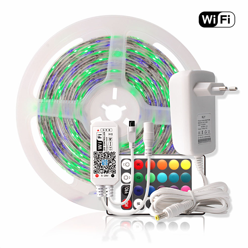 WIFI LED Strip Waterproof 2835 5M RGB Tape Tira LED Strip 220V Neon Ribbon Light + 24Key Remote Controller 12V Power Adapter SetWIFI LED Strip Waterproof 2835 5M RGB Tape Tira LED Strip 220V Neon Ribbon Light + 24Key Remote Controller 12V Power Adapter Set