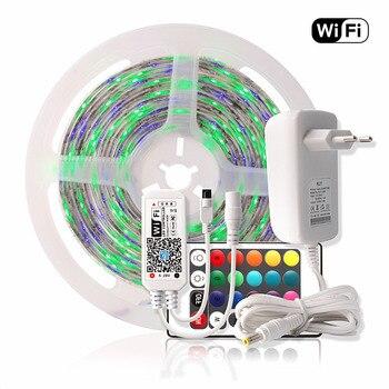 WIFI LED Strip Waterproof 2835 5M RGB Tape Tira LED Strip 220V Neon Ribbon Light + 24Key Remote Controller 12V Power Adapter Set
