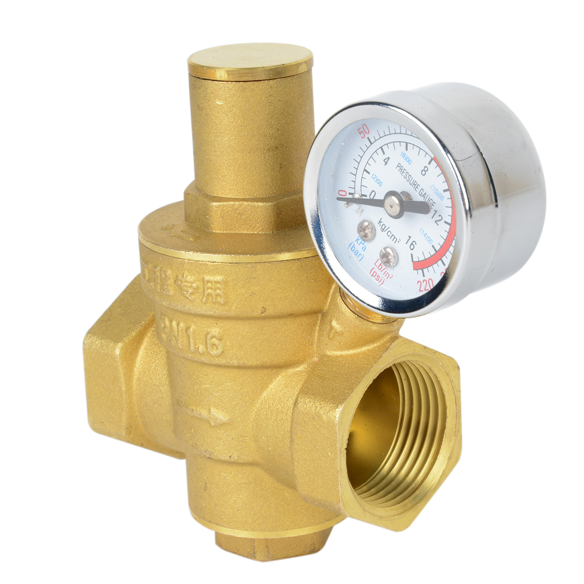 brass dn15 water pressure reducing valve 1 2 npt with gauge meter mayitr adjustable in valve. Black Bedroom Furniture Sets. Home Design Ideas