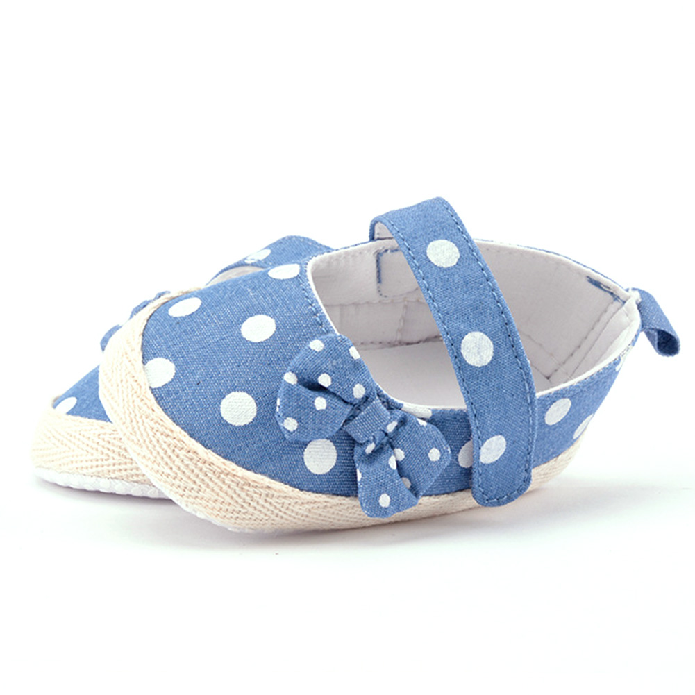 Summer Bowknot Baby Shoes Polka Dots Little Baby Girls Crib Shoes Canvas Anti-slip First Walker Baby Bowknot Boots