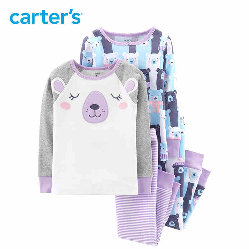 Carter's 4 Piece Bear Snug Fit Cotton PJs Cute cartoon print long sleeve pullovers pants girl clothes set toddler 24947010 cute cartoon bear style biscuit cookie cutter mold set white 4 piece pack