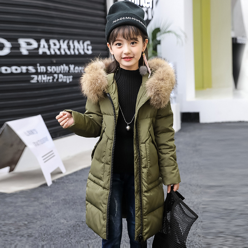 OLEKID 2018 Girls Winter Coat Long Thicken Warm Jacket For Girls 5-14 Years Kids Down Parka Teenage Girls Winter Outerwear Coat olekid 2017 new cartoon rabbit winter girls parka thick warm hooded children outerwear 5 14 years teenage girls sweater coat