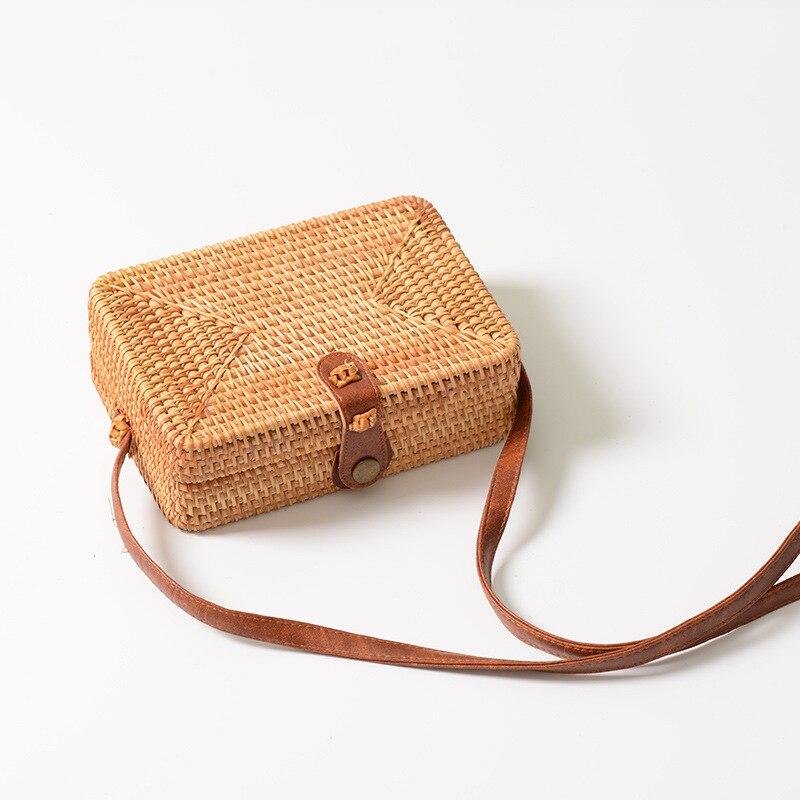 Straw väskor för kvinnor 2018 Sommar Rattan väska Runda och - Handväskor - Foto 2