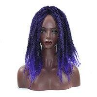 Soloowigs Kobiety Wysokiej Temperatury Włókna 30 Nici/paczka Afro Perwersyjne Kręcone Braiding Przedłużanie Włosów Ombre Syntetyczne Włosy na Czarno