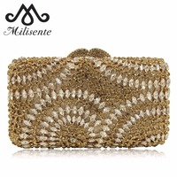 New Fashion Ladies Evening Handbags Party Wedding Purse Luxury Crystal Clutch Bags Chain Gold Silver Vintage