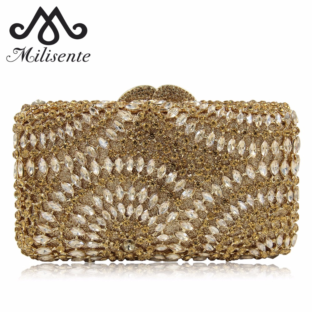 Milisente 2018 Fashion Day Clutch Vintage Style Ladies Evening Bags Women Party Bag Wedding Purse Luxury Crystal Clutches milisente women luxury rhinestone clutch evening handbag ladies crystal wedding purses dinner party bag gold