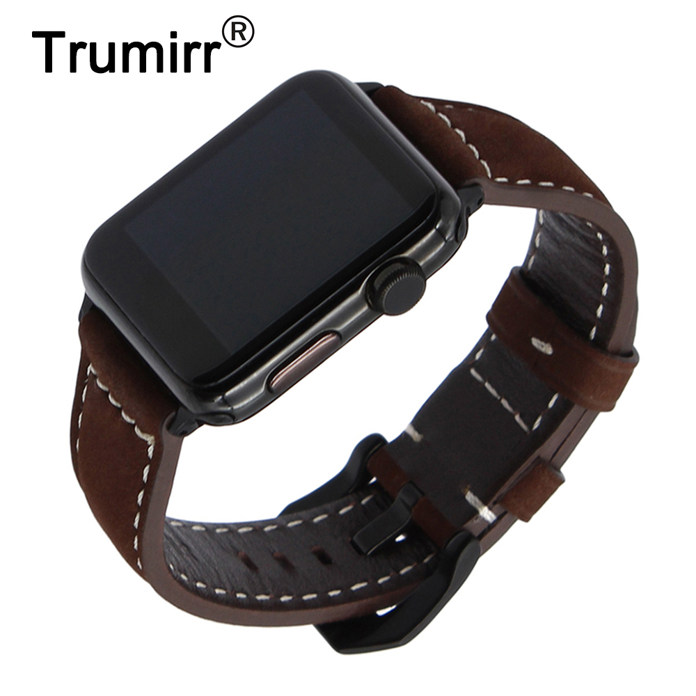 Vintage Genuine Cow Leather Watchband for iWatch Apple Watch 38mm 42mm Series 3 2 1 Band Steel Buckle Strap Accessory Bracelet kakapi crocodile skin genuine leather watchband with connector for apple watch 38mm series 2 series 1 pink