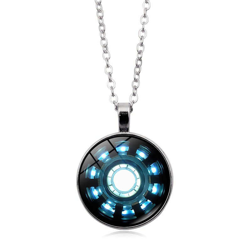 New Marvel Iron Man Tony Stark Arc Reactor Necklace Glass Cabochon Pendant The Avengers 4 Endgame Quantum Realm Film Souvenir