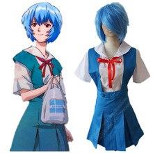 Envío libre Neon Genesis Evangelion Rei Ayanami Uniforme anime cosplay disfraces de halloween vestidos de las niñas trajes