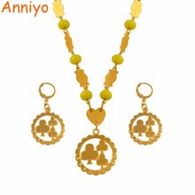 Anniyo Flower Pendant Necklaces Earrings With Colored Beads Jewellery sets Moms Gifts Gold Color Trendy Islands Jewelry #118206S(China)