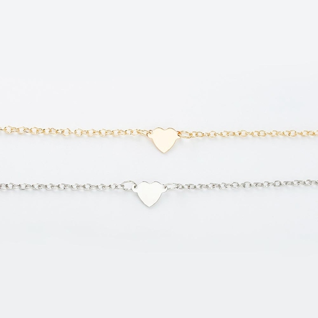 2018 Good Selling Women Trendy Jewelry Double Heart Style Love Gold Color Bracelet Gift
