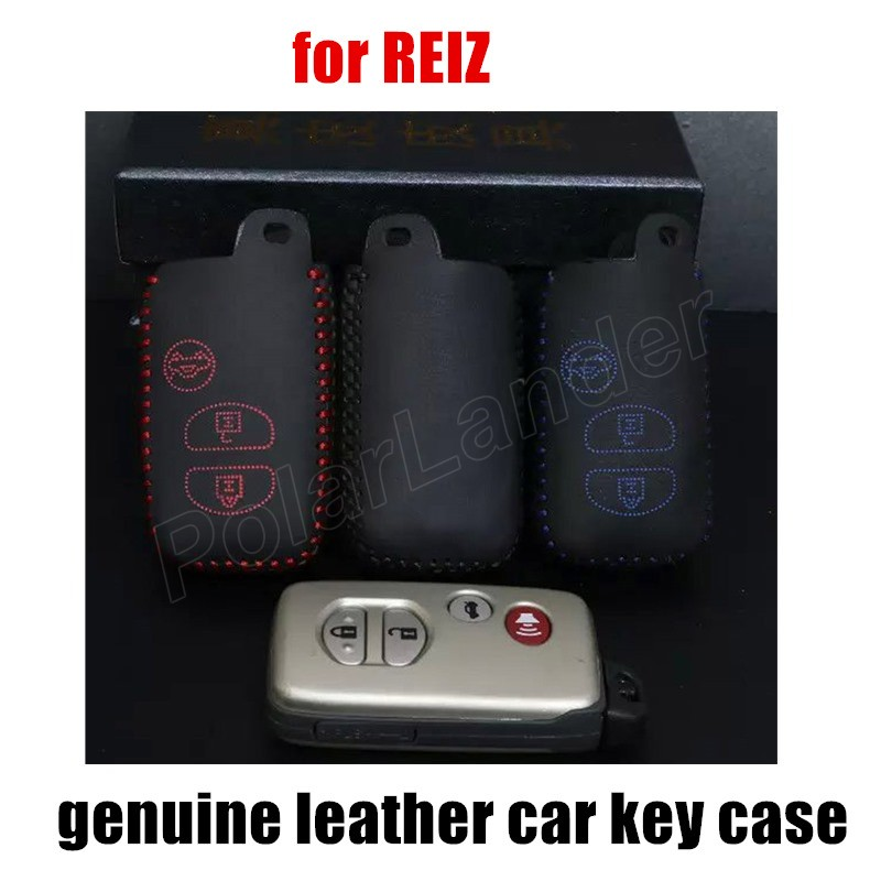 Only Red high quality hot sale car key case leather hand sewing car key cover fit for TOYOTA OLD CAMRY CROWN REIZ
