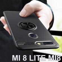 Магнитное кольцо Стенд чехол на для Xiaomi mi 8 Lite mi 8 роскошный мягкий силиконовый защитное стекло+ Полное покрытие на для сяоми ксиоми ми 8 Лайт ми8