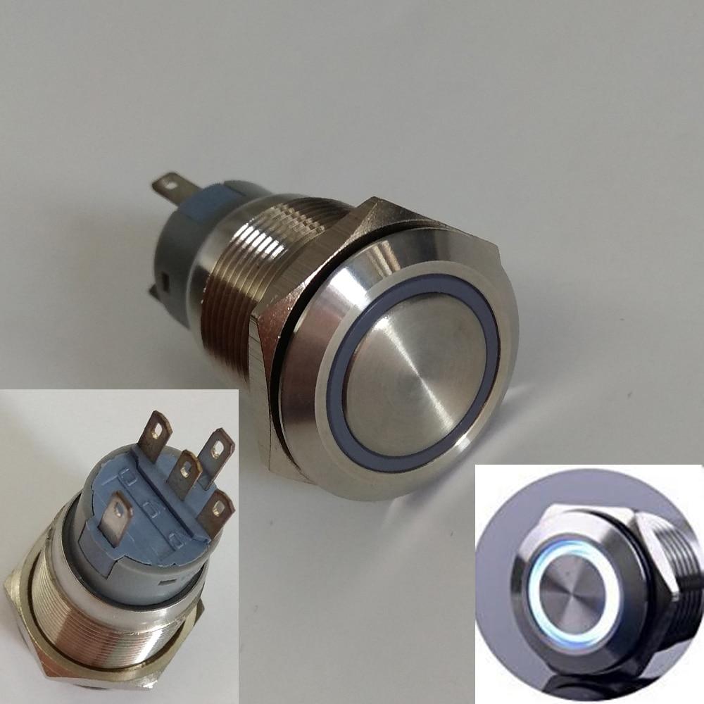 6V,12V,24V,36V,110V,230V White Ring Illuminated 1NO1NC Momentary Anti Vandal Switch with Stainless Steel Shell glukhar v