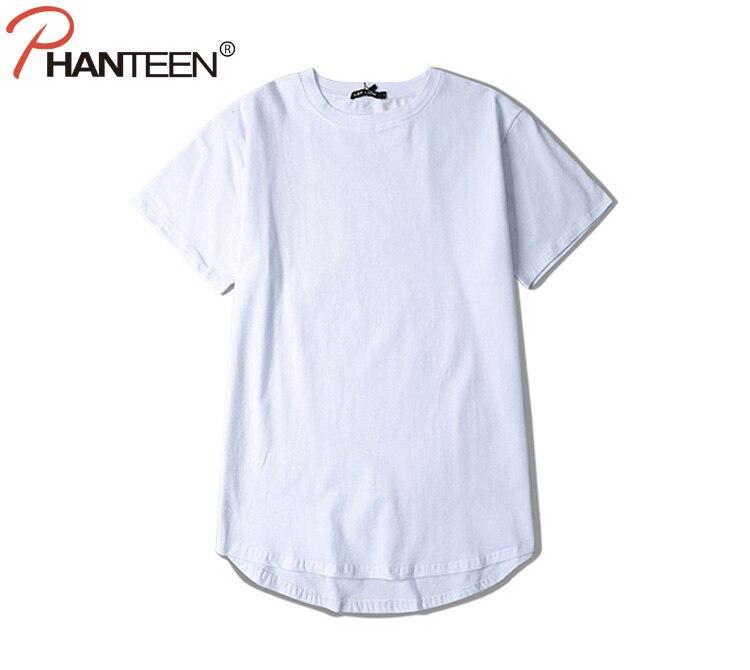 Phanteen Justin Bieber Kanye Man T Shirts Hiphop Solid Color Pure Cotton High Quality Long T-shirts Fashion Men Brand Clothing