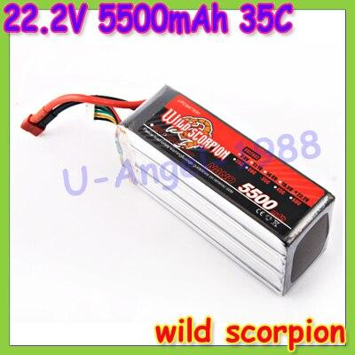 HK Free shipping wild scorpion 100 new Brand RC 22 2V 5500mAh 35C Li polymer Battery