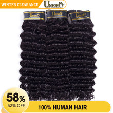 Uneed Hair Malaysian Hair Deep Wave Remy Human Hair Weave Bundles Can Buy 3 or 4 bundles With Closure Natural Color 10-28(China)