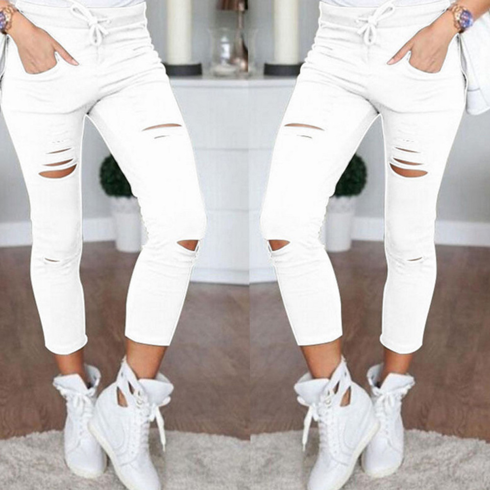 2019 Summer Women Skinny Cut Pencil Pants High Waist Stretch Jeans Trousers Casual Fashion Cotton Pants Slim Legging White Black 1