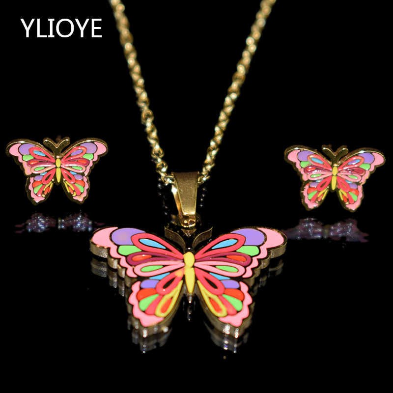 Cartoon Rainbow butterfly Stainless Steel 100% Golden Plated Necklace Earrings Set 4 Patterns Child Jewelry Sets for Women Gifts
