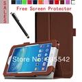 Ultra-delgada Folio delgado PU del soporte del cuero de la cubierta del libro para Samsung Galaxy Tab 3 Lite 7.0 Tablet SM-T110 / SM-T111 ( Brown )