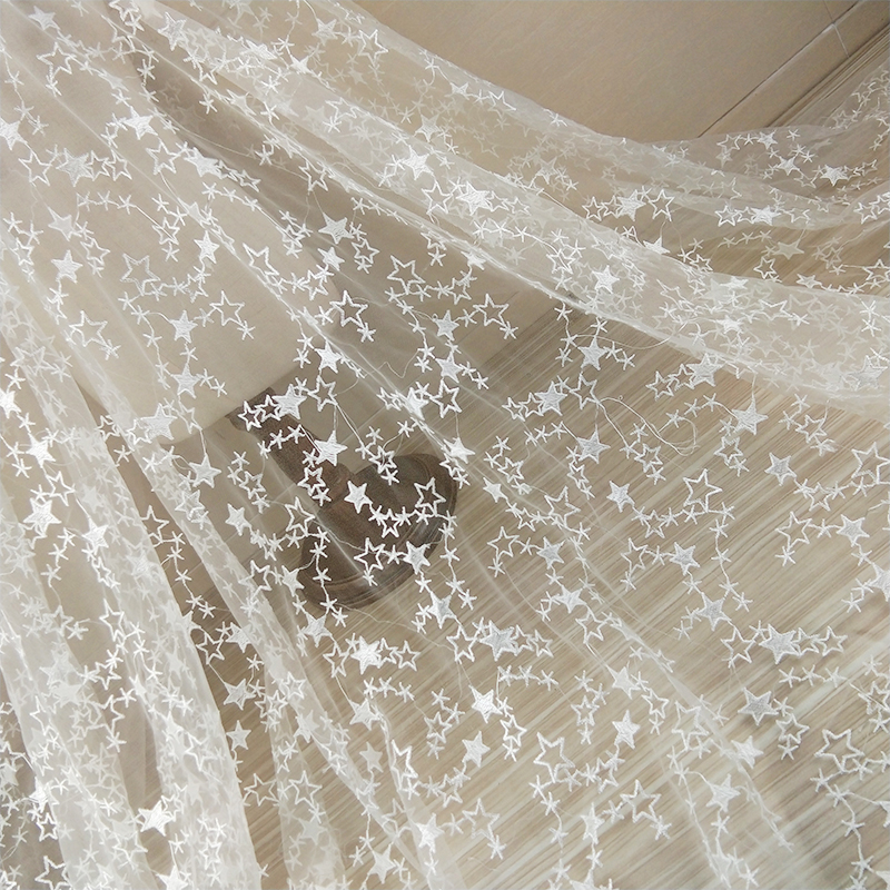 New Style High Grade White Embroidery Stars Mesh Wedding Dress Lace Fabric 120cm Wide French Lace