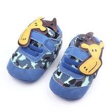 Симпатичные Кожа Prewalker Животных Жираф Крючки и Петли Фантазии Детская Обувь Для Мальчиков и Девочек 0-15 Месяцев