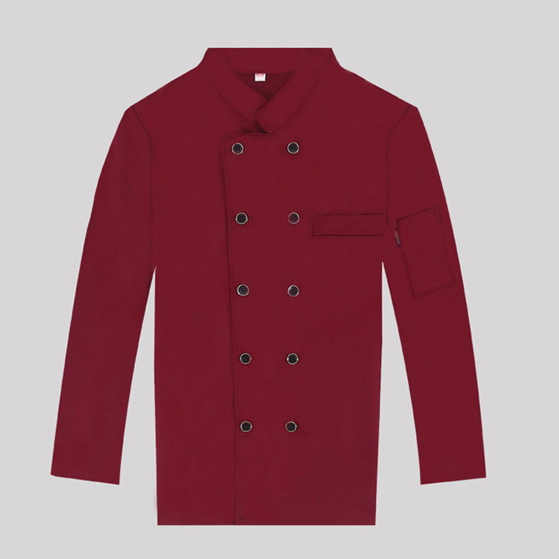 2019 New Unisex Red Chef Jacket Restaurant work clothes Men long-sleeved Chef Coat Women Waiter Uniform Cook Coat 4 colors
