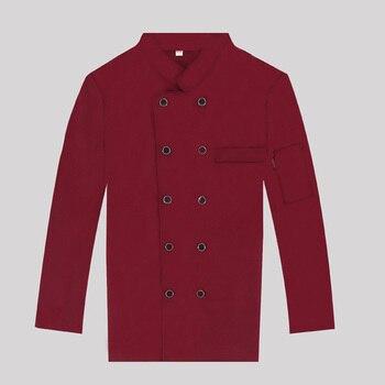 2019 nuevo Unisex rojo chaqueta de Chef trabajo del restaurante de la ropa de los hombres de manga larga Chef Coat mujeres camarero uniforme cocinar abrigo 4 colores