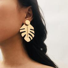 Glossy Leaves Earrings Bohemian Geometric For Women Fashion Simple Jewelry Large Boho Style Metal Earring