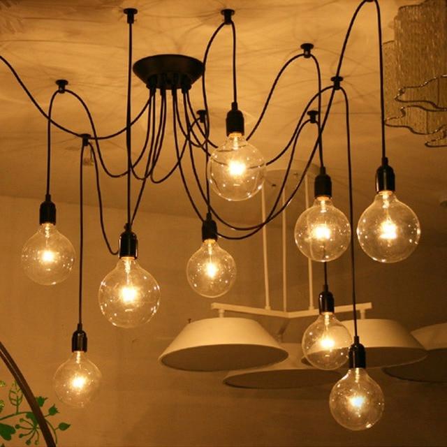 Antique Retro Diy E27 Art Black Spider Chandelier Vintage Loft Adjule Edison Bulb Pendant Lamp Haning