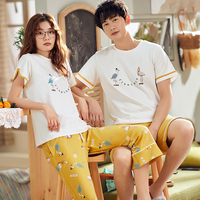 Women's Pajamas summer Short sleeve Cotton sleepwear Cartoon Couple lovers Men Sleep pyjamas short Couple Lounge Pajama Set