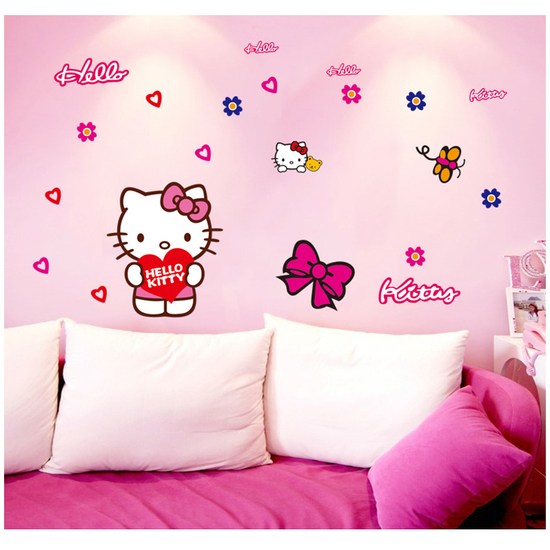 Luminous Hello Kitty Wall Stickers For Kids Rooms Decorations Home Kitchen Girl Bedroom Decorative Wall Decal