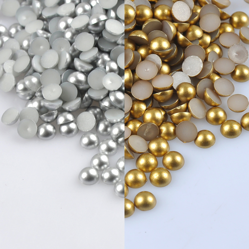 300Pcs 8mm gold and silver Half Round ABS Imitation Pearl