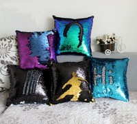 Wholesale Double Sided Sequins Throw Pillows Continental Mermaid Home Decorative Pillow Cushions Sofa Car Seat Cushion