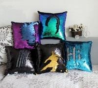 Wholesale Double Sided Sequins Throw Pillows Continental Mermaid Home Decorative Pillow Cushions Sofa Car Seat Cushion