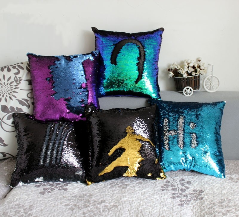 Wholesale double sided sequins throw pillows continental mermaid home decorative pillow cushions sofa car seat cushion covers