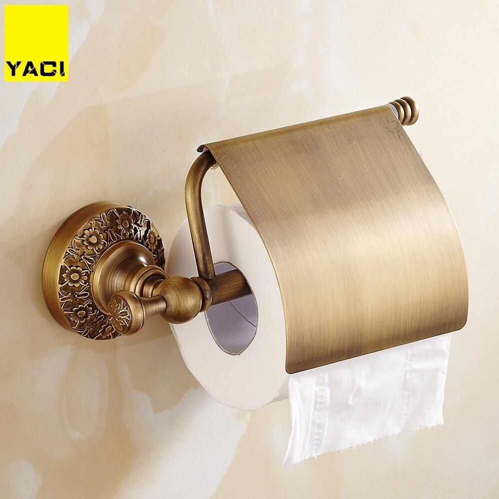 YACI ванная комната туалет бумага держатель с крышкой античная латунь рулон ткани стойки резной узор база полка настенный