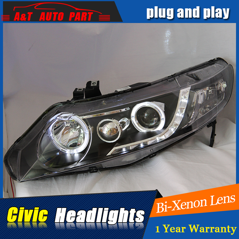 Auto Lighting Style LED Head Lamp for Honda Civic headlights 2007-2011 Civic LED angle eyes drl H7 hid Bi-Xenon Lens low beam hireno headlamp for 2016 hyundai elantra headlight assembly led drl angel lens double beam hid xenon 2pcs