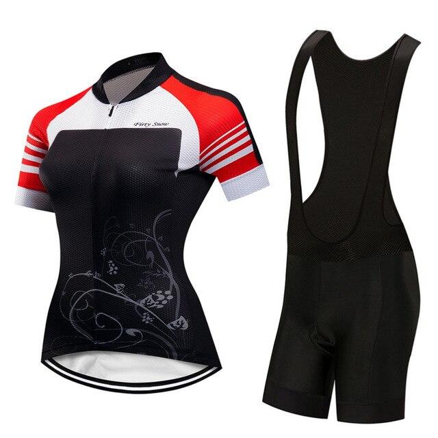 Women Mountain Bike Jersey   Bib Shorts Set Maillot Ciclismo Women Cycling  Jersey Set Bicycle Team Sports Jerseys Kit 8f324de9f