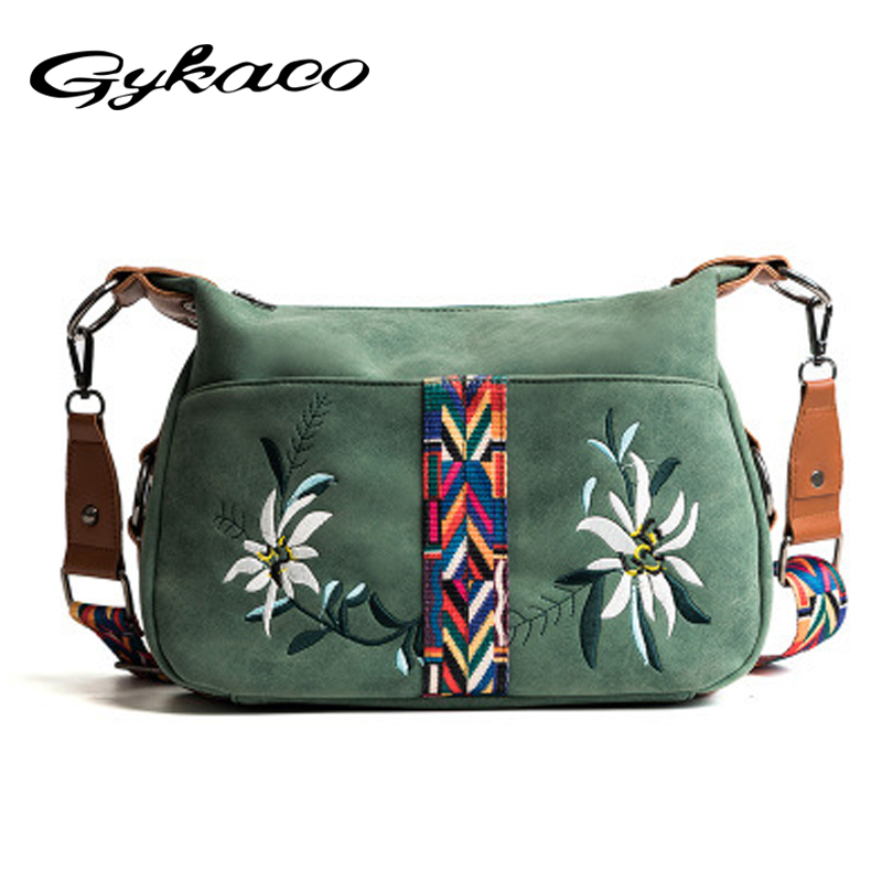 Gykaeo 2018 Summer New Ethnic Color Shoulder Bags Handbags Women Famous Brands Embroidered Flower Crossbody Messenger Bag Bolsas
