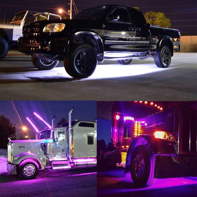 OKEEN стайлинга автомобилей 2X150cm 24В миллионов Цвет LED грузовик свет бар газа музыка беспроводной пульт дистанционного багажника кузова габаритный комплект
