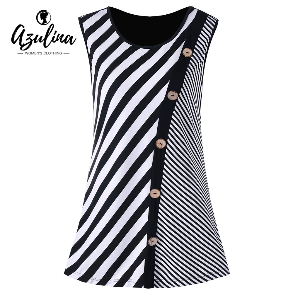 AZULINA Plus Size Buttons Embellished Striped Tank Top Women Tanks Summer O Neck Sleeveless Ladies Tops Tees Big Size Clothing