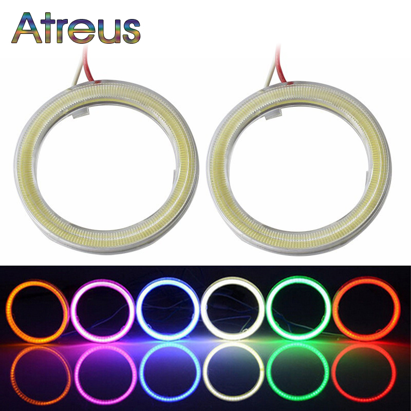 Atreus Car LED Angel Eyes for Toyota Opel <font><b>Honda</b></font> <font><b>civic</b></font> Ford focus 2 Lada <font><b>accessories</b></font> 60-120mm Auto Halo Ring With Lampshades 12V image