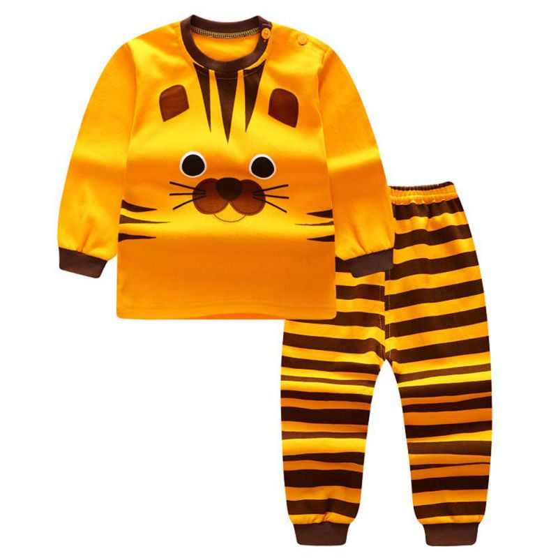 2pcs/set Cute Baby Cartoon Suits Cotton Soft Long sleeve T Shirt + Pants Set Kids Boys Girls Clothing 0-4T 6 Styles ...
