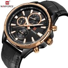 Naviforce 2017 marca de moda de lujo cronógrafo deporte de los hombres casuales de cuero impermeable de los relojes de cuarzo reloj de los hombres relogio masculino