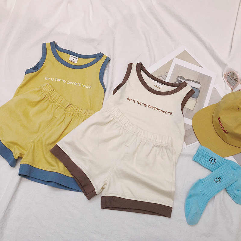 Toddlers Children Summer Clothing Sets Letter Vest T-shirt Cotton Shorts 2pcs Korean Style Baby Boys Sports Outfits Kids Suits