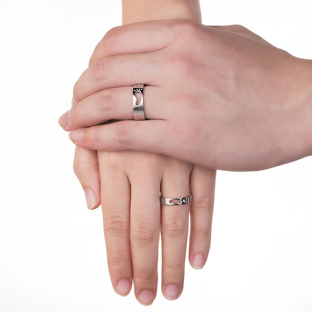 Personalized Couple Rings With Baby Feet Stainless Steel Rings ...