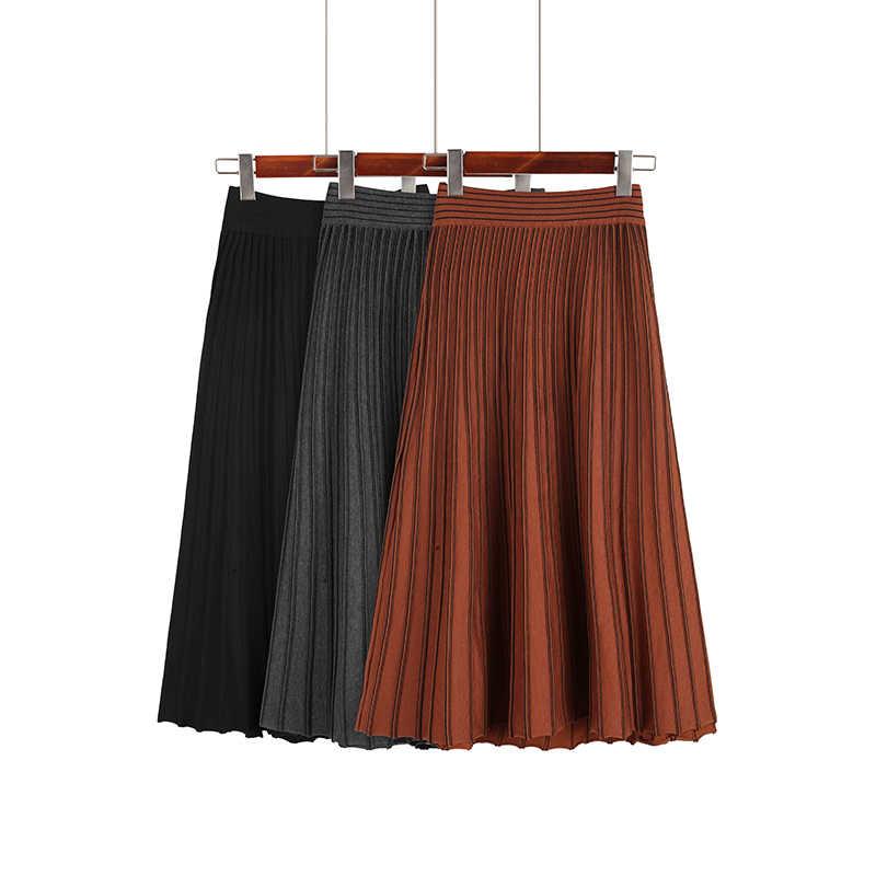 88df75b1a3 Autumn Winter Women Elastic Waist A Line Midi Skirts 2019 Casual Grey High  Waist Striped Knitted
